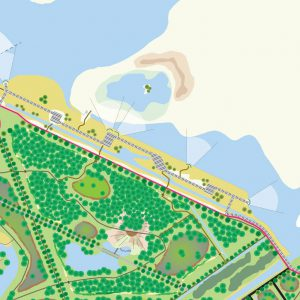 Plattegrond van het recreatiegebied Almeersepoort Oostvaardersplassen